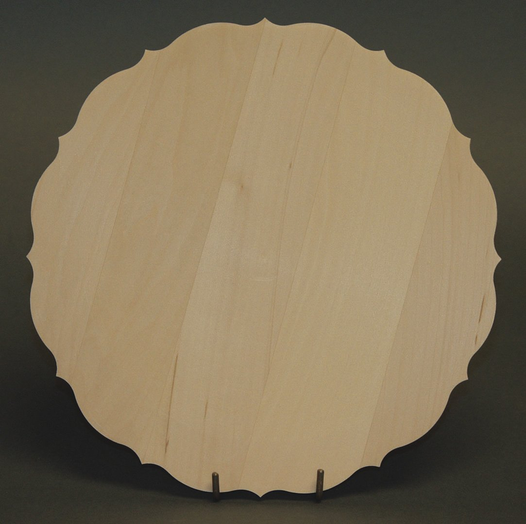 Flat Basswood Plates with Scalloped Edge 14""