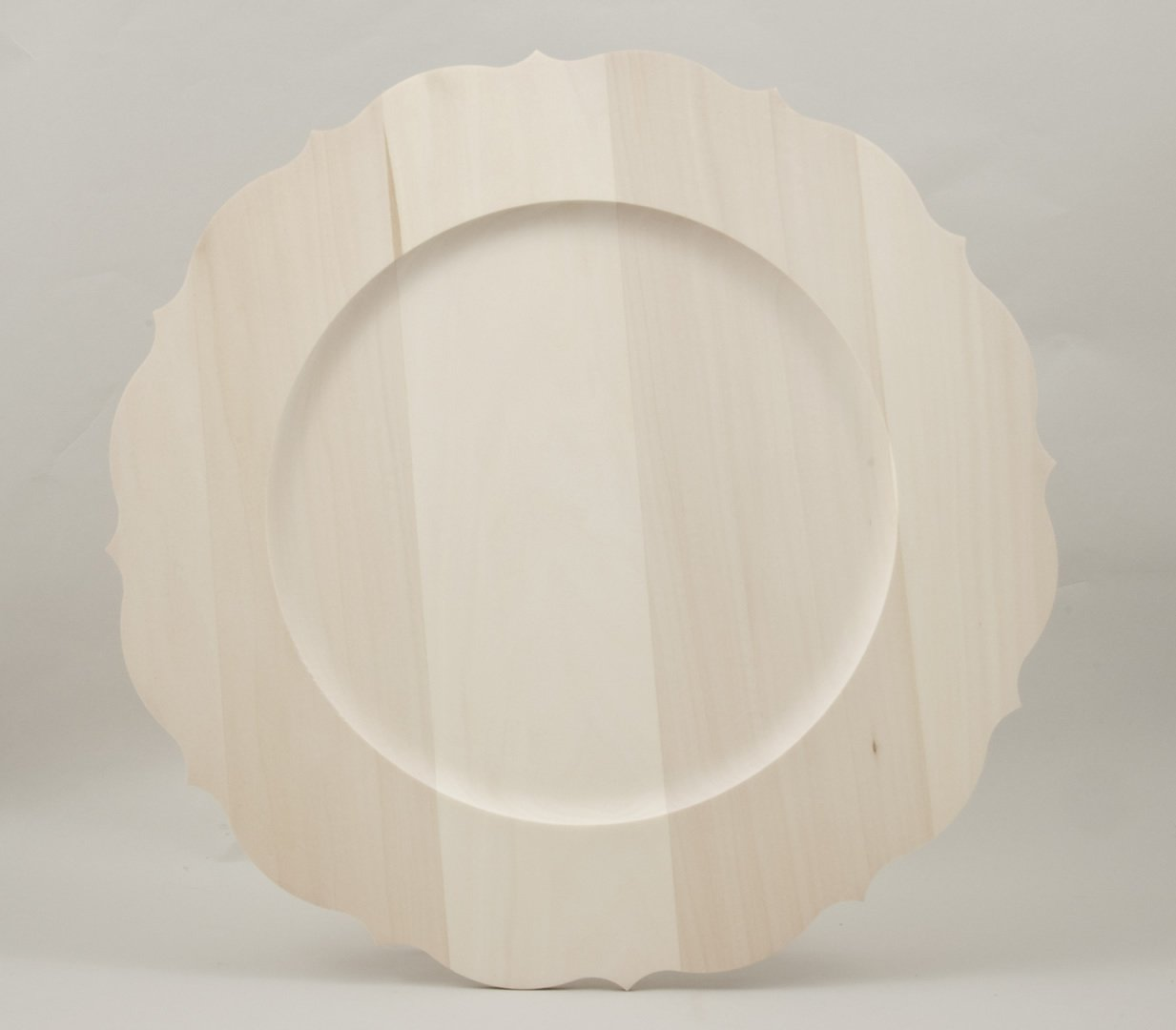 Flat Basswood Plates with Rim and Scalloped Edge 8""