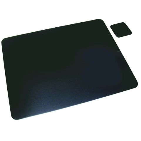 "1924LE 19"" x 24"" Bonded Leather Desk Pad w/ Coaster, Black"