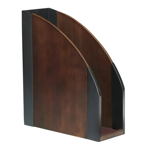 ART13004 Dual-Tone Eco-Friendly Sustainable Bamboo Magazine Holder File, Espresso Brown Black