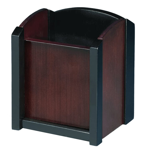 ART13005 Dual-Tone Eco-Friendly Sustainable Bamboo Pen and Pencil Cup Holder, Espresso Brown Black