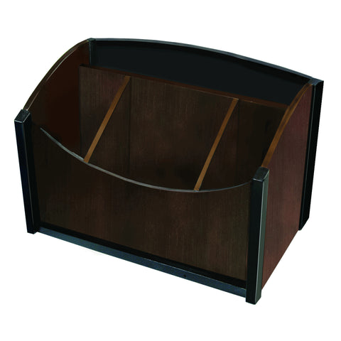 ART13007 Dual-Tone Eco-Friendly Sustainable Bamboo Desk Organizer, Espresso Brown Black