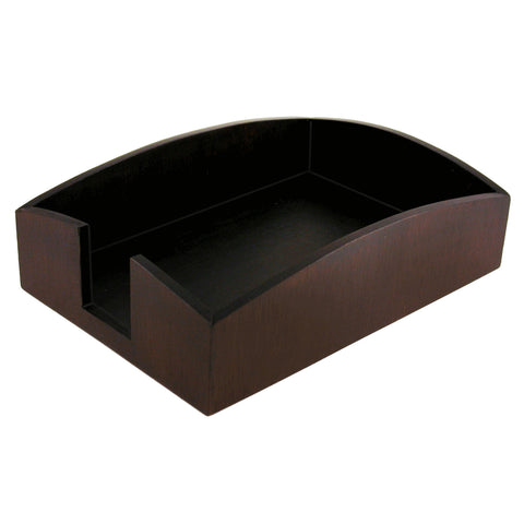 "ART11007C Eco-Friendly Sustainable  Bamboo Curves Paper Holder for 4"" x 6"" Memos and Small Papers, Espresso Brown"