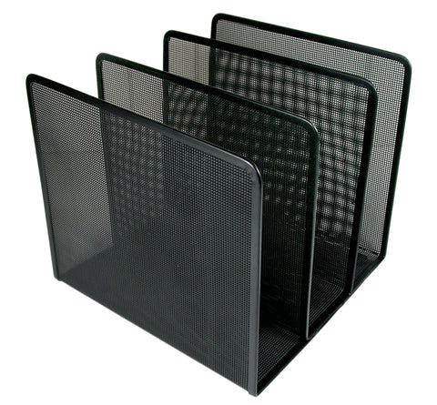 ART21009C Contemporary Mesh Metal Desktop File Sorter, Black