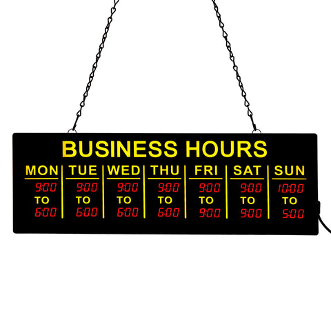 "34087 20"" x 6.5"" Hanging LED Business Hours Sign, Black"