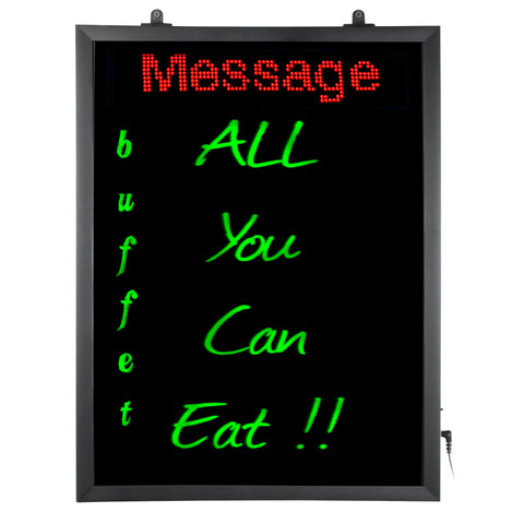 34105 LED Lighted Dry-Erase Writing Board (Hanging) with Flashing Functions and multi-color Lighting in Red, Green, Blue | Features Integrated WIFI Programmable Red Scrolling Message, Black/Red/Blue/Green