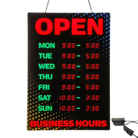34110 Large LED Lighted Open Sign with Business Hours - Programmable Daily Hours of Operation, Black/Red with Yellow/Blue Accents