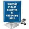"38890 8.5"" x 11"" Motorized Two-Sided Rotating Sign Holder Ad Frame, Clear/Silver"