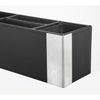 Artistic ART43023 Architect Line Leather-Like Supply Caddy Desk Organizer Black Brushed Metal Matching Black Stitching and Velvet-Like Lining