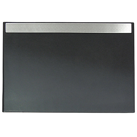 "ART43025 19"" x 24"" Architect Line Leather-Like Desk Pad, Black with Brushed Metal & Matching Black Stitching and Velvet-Like Lining"