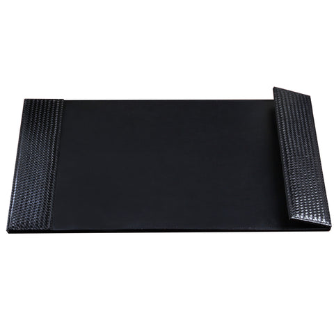 "ART61026D 24"" x 38"" Woven Desk Pad with Smooth Writing Surface and Woven Side Panel Accents with Right Side Magnetic Open/Close Panel, Black"