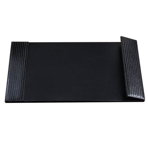 "ART61026C 20"" x 36"" Woven Desk Pad with Smooth Writing Surface and Woven Side Panel Accents with Right Side Magnetic Open/Close Panel, Black"