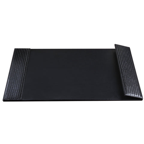 "ART61026B 19"" x 24"" Woven Desk Pad with Smooth Writing Surface and Woven Side Panel Accents with Right Side Magnetic Open/Close Panel, Black"