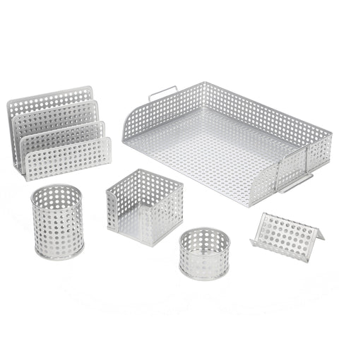 ART72000S Punched Metal Desk Organizer 6pc Set Includes Letter Tray, Letter sorter, Business Card Holder, Pencil Cup, Memo Holder and Clip Tray, Silver
