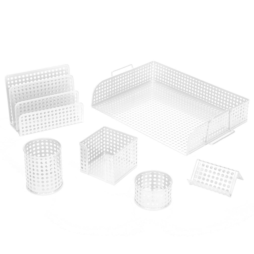 art72000w punched metal desk organizer 6pc set includes letter tray letter sorter business card holder pencil cup memo holder and clip tray white - Desk Organizer Tray