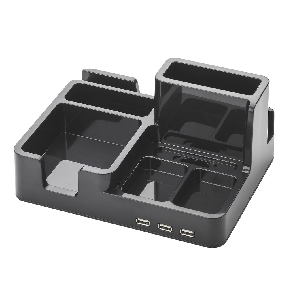 All-In-One Desk Organizer & Docking Station/Stand for iPad/iPhone/Tablets/Smartphones with 3 USB ports