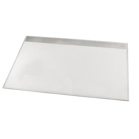 "ART43025WH 19"" x 24"" Architect Line Leather-Like Desk Pad, White with Brushed Metal, Matching White Stitching and Velvet-Like Lining"