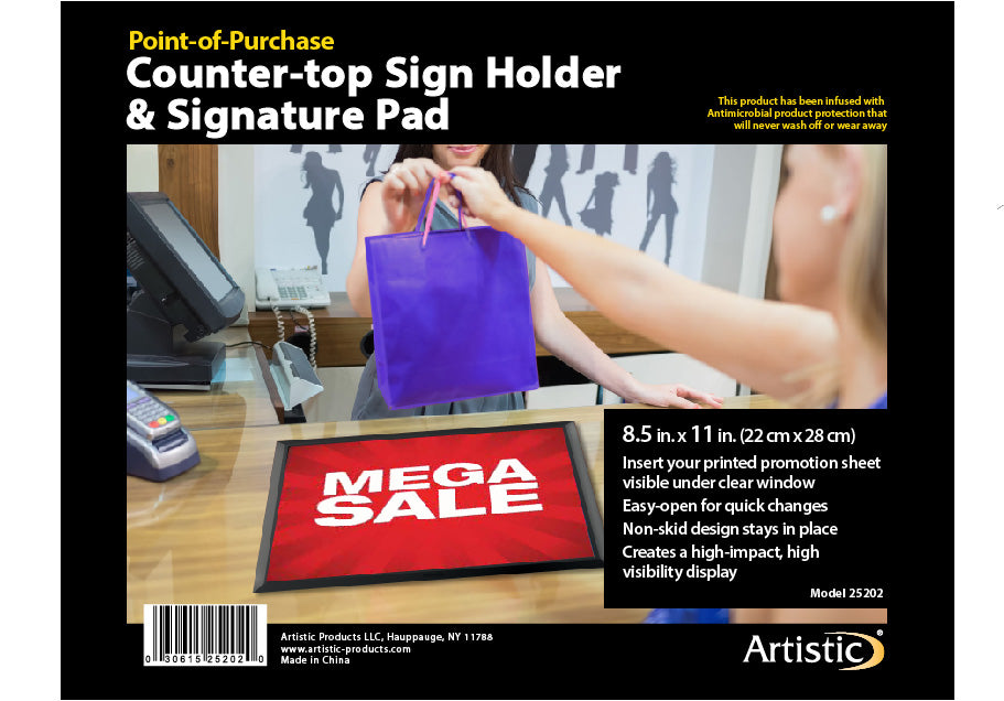 "25200 13"" x 19"" Retail Counter Mat / Signature Pad - Slide-In Advertisement Display, Black/Clear"