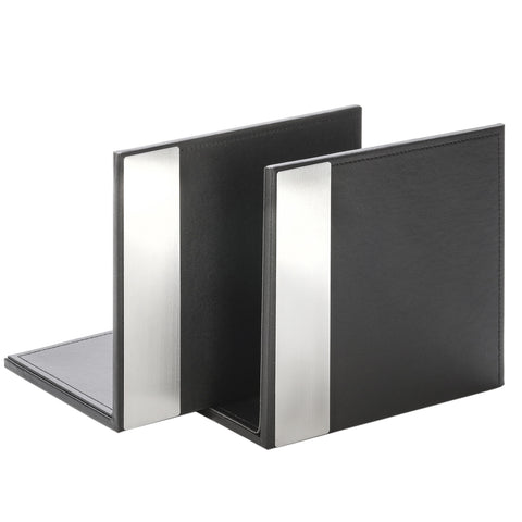 ART43008 (2) Architect Line Leather-Like Bookends (pair), Black with Brushed Metal & Matching Black Stitching and Velvet-Like Lining