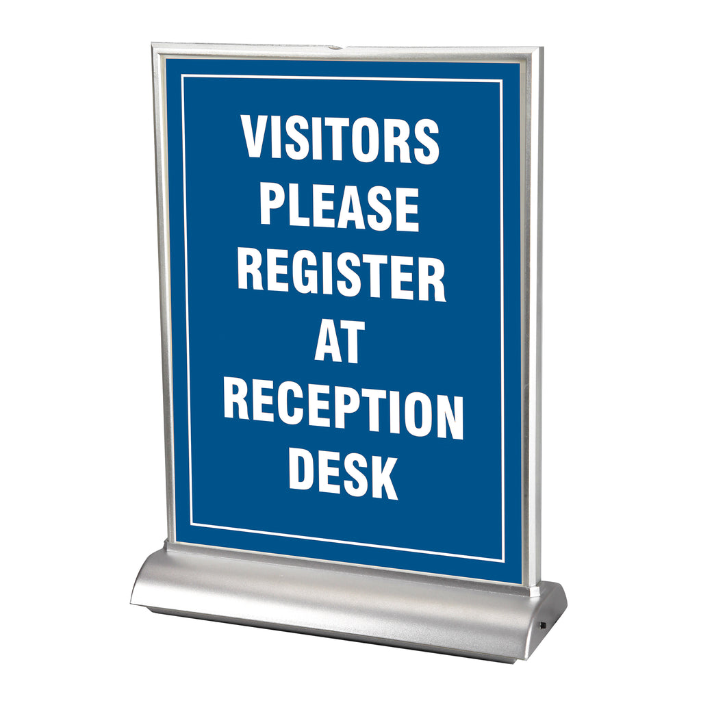 "34100 8.5"" x 11"" LED 2-Sided Counter Top Display Sign Holder - Lights Important Messages, Sales, Promotions with Super-Bright LEDs, Clear"