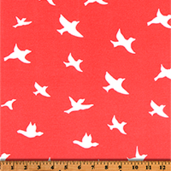 Bird Silhouette Indian Coral-100% Polyester