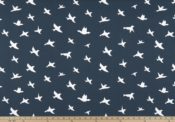 Cotton-7 oz.-Bird Silhouette Premier Navy/White