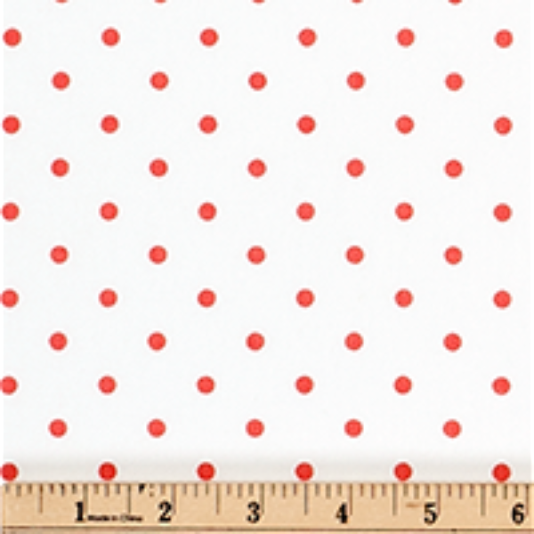 Twill-Mini Dot White/Coral