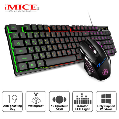 Gaming Keyboard Rgb Verlicht Toetsenbord Met Stille Gaming Muis Set Russische Toetsenbord Muis Gamer Kit Voor Computer Game Pc Laptop