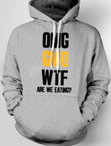 ON SALE - OMG GMO WTF Are We Eating Hooded Sweatshirt (Light Grey, M)