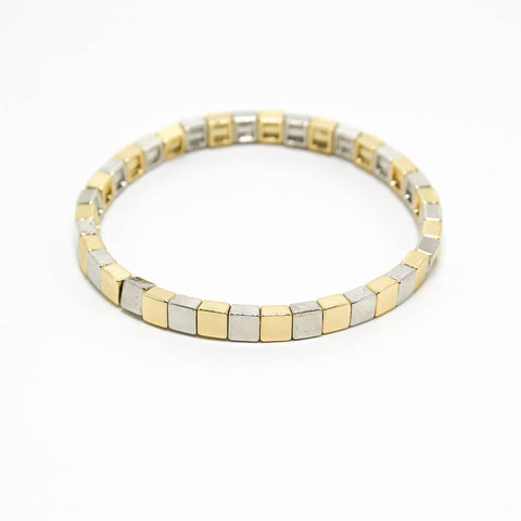 MIXED METALS CUBES STACKING BRACELET