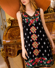 STELLA EMBROIDERED SLEEVELESS DRESS