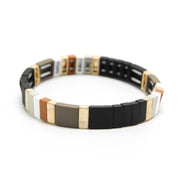 COLOR BLOCK METAL TILE BRACELET - NARROW