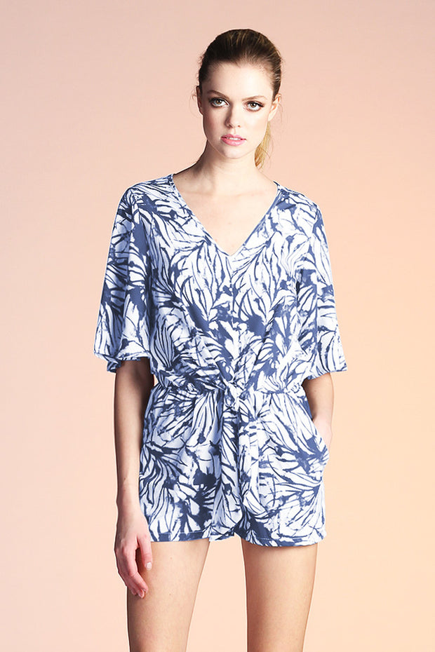 WATERCOLOR LEAF PRINT TIE ROMPER
