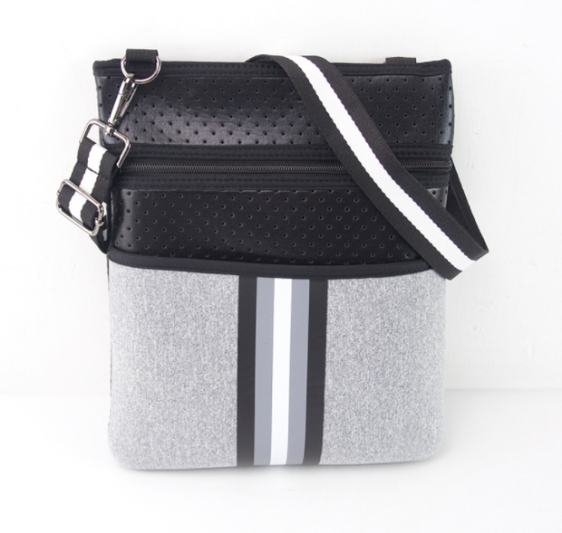 ON THE GO SLIM CROSSBODY - BLACK & HEATHER GREY