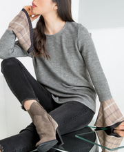 BECCA PLAID BELL SLEEVE SWEATER