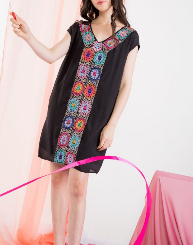 MARIE EMBROIDERED SHIFT DRESS