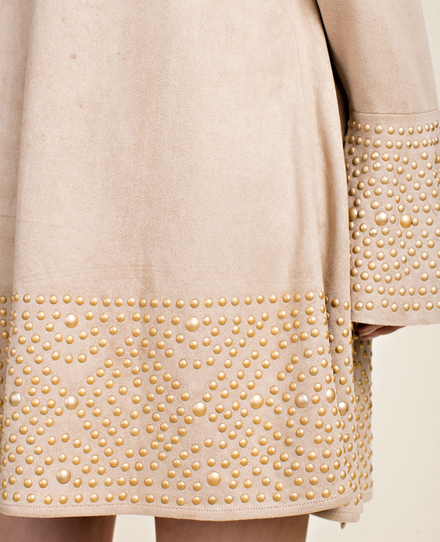 BELLE FAUX SUEDE Cardigan with Gold Studs