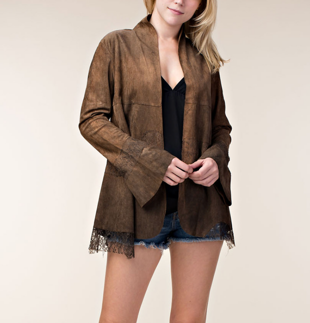MAGGIE Faux Suede Cardigan with Lace Accents