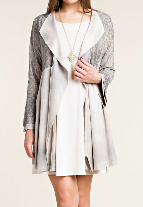 KATRINA Faux Suede Cardigan with Laced Bell Sleeve