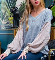 THAT'S MY GIRL V-NECK DROP SHOULDER SWEATER