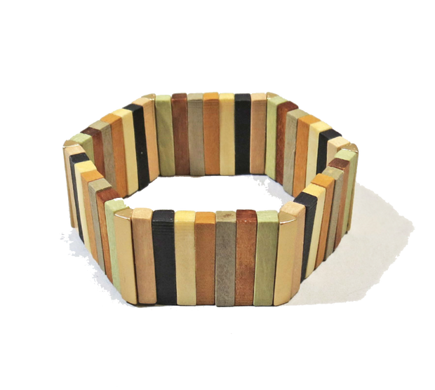 WIDE HEXAGON WOOD BRACELET