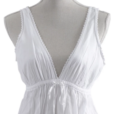LAYLA HANDMADE WHITE DEEP V-NECK LACE TRIMMED NIGHTGOWN BY TALEEN