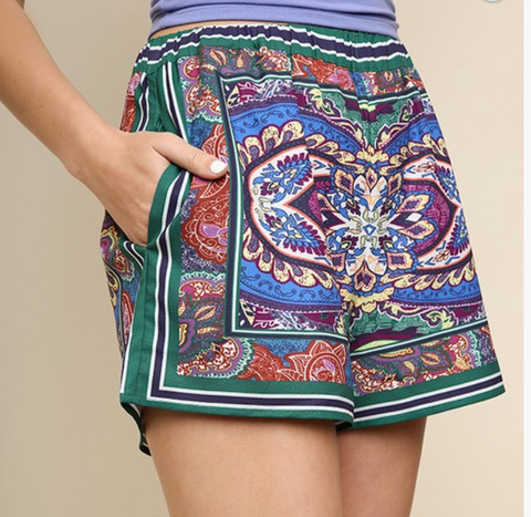 JADE SCARF PRINT HIGH WAISTED SHORTS