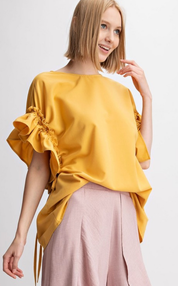 MAGGIE Solid Ruffle Blouse