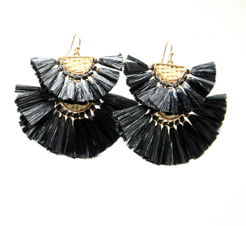 RAFFIA FAN DOUBLE TIER DANGLE EARRINGS