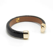 OSTRICH SERIES - Black Leather Cuff Bracelet