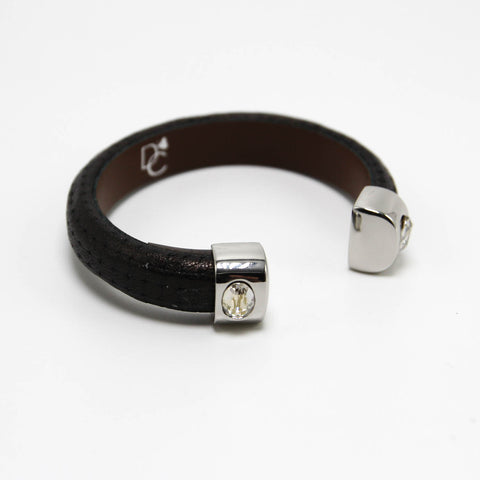 Leather Cuff Bracelet with Stones - Black