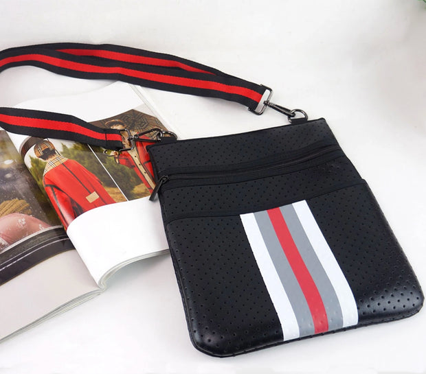 ON THE GO SLIM CROSSBODY - BLACK & RED