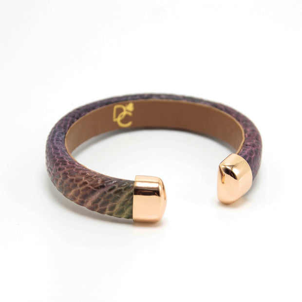OSTRICH SERIES - Peacock Leather Cuff Bracelet