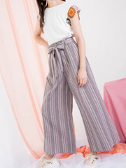EVA MULTI COLORED STRIPE PAPERBAG PANT
